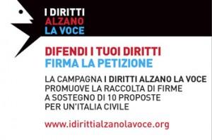 """Volantino della Campagna """"I diritti alzano la voce"""""""