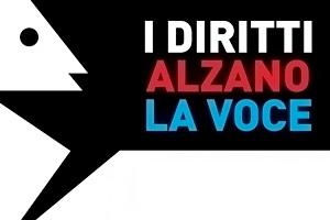Logo della campagna I diritti alzano la voce