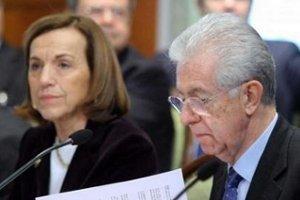 Il Presidente del Consiglio dei Ministri, Mario Monti, e il Ministro del Lavoro e delle Politiche Sociali, Elsa Fornero