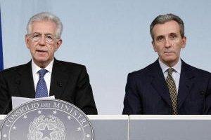 Il Presidente del Consiglio Mario Monti e il Ministro dell'Economia Vittorio Grilli